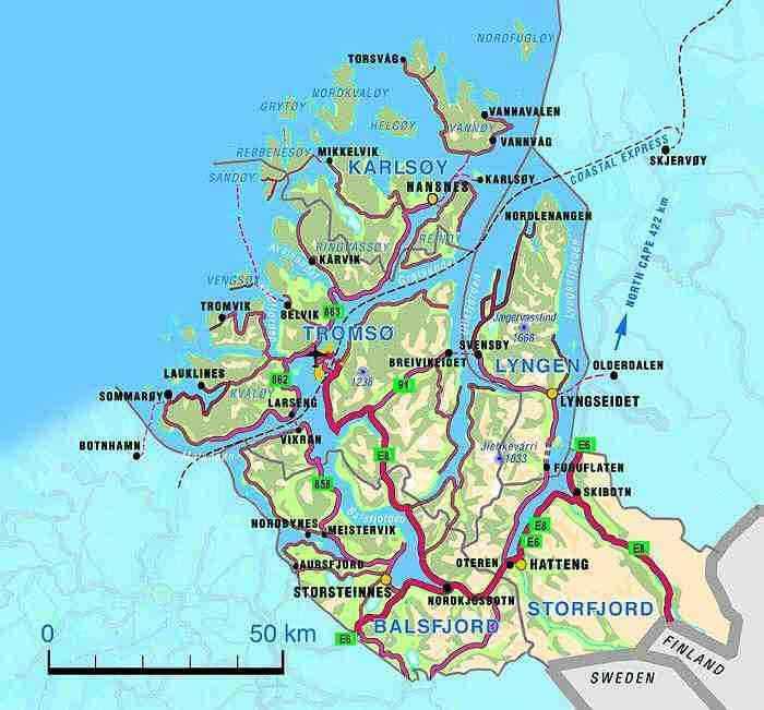 Logistics In Tromsø - Norway map tromso